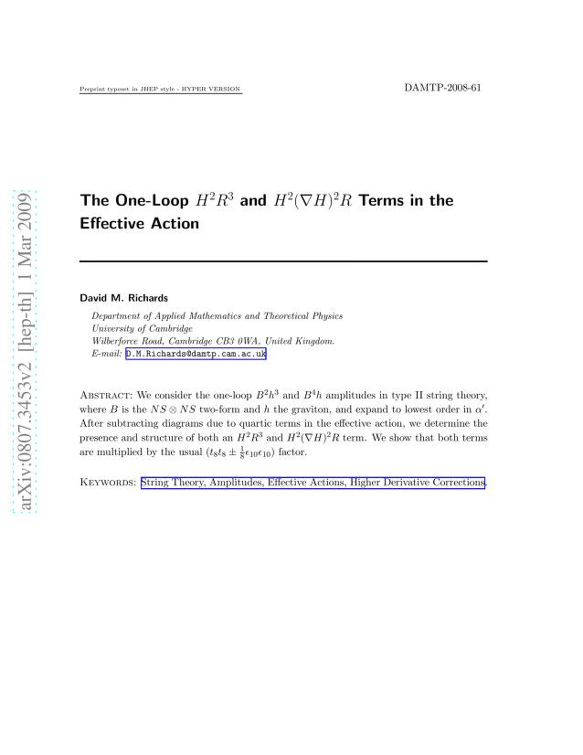 David M. Richards - The One-Loop H^2R^3 and H^2(DH)^2R Terms in the Effective Action