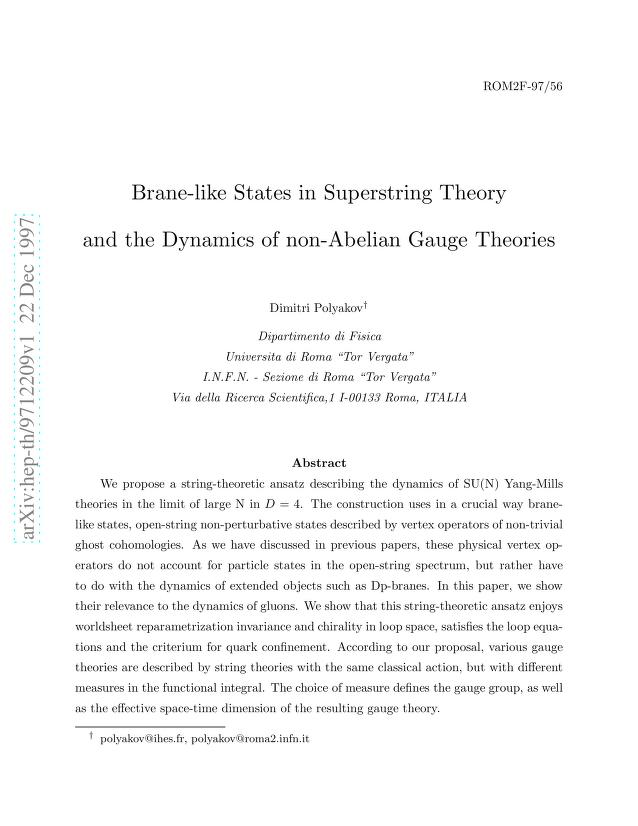Dimitri Polyakov - Brane-like States in Superstring Theory and the Dynamics of non-Abelian Gauge Theories