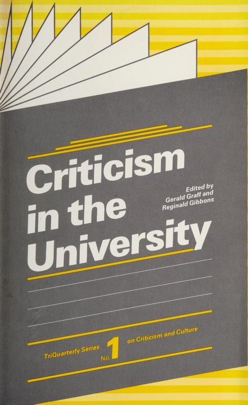 Criticism in the University by Gerald Graff