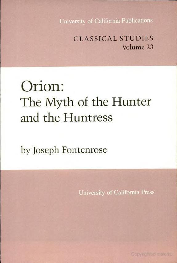 Orion by Joseph Eddy Fontenrose