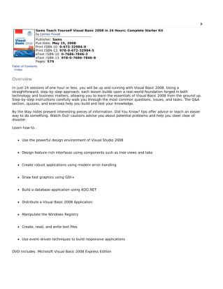 Sams teach yourself Visual BASIC 2008 in 24 hours by James D. Foxall